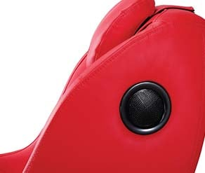 Speakers of a red Apex iCozy massage chair