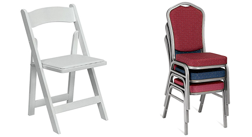 An Image of Folding Chairs and Stackable Chairs for Types of Banquet Chairs