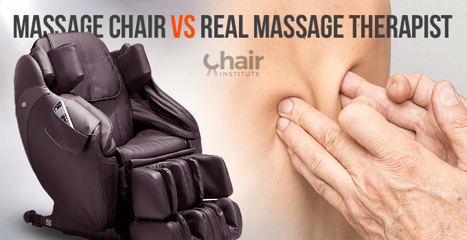 A massage chair on the left and the hands of a massage therapist, massaging a back, on the right