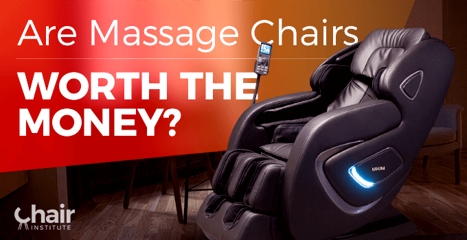 A dark brown massage chair in a semi dark room