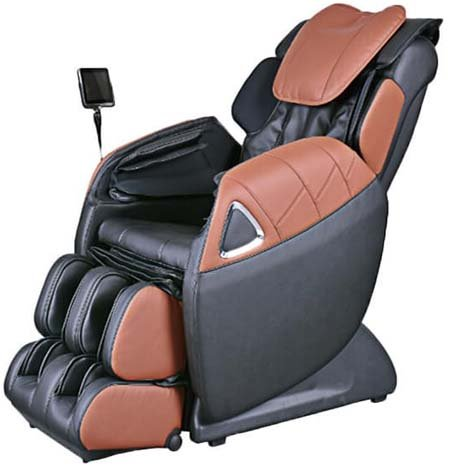 An Image Of Ogawa Refresh Plus Massage Chair In Black And Cappuccino Color.