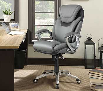 A Serta Work Executive Office Chair Light Gray Color In An Office