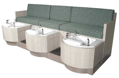 An Image Sample of Collins 62478 Cielo Triple-Basin Bench for Best Pedicure Chairs
