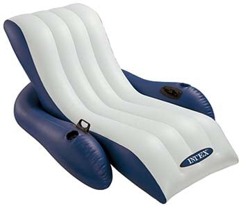 An image of Intex Inflatable Recliner in blue and white color