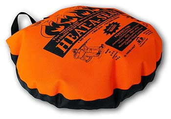 An image of Northeast Products HEAT-A-SEAT Insulated Hunting Seat Cushion/Pillow in blaze print and black color.