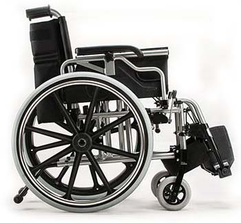 Right side of a folded Foshan Ergonomic Lightweight wheelchair