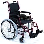 Karman LT-980 Ultralight wheelchair in burgundy color facing right