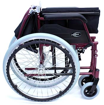 A folded view of Karman LT-980 Ultralight Wheelchair in burgundy color.