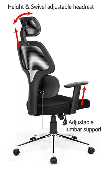 An image highlighting features of Coavas High-Back Mesh office chair.