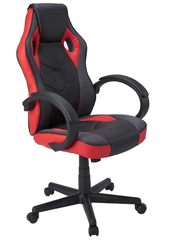 An image of Coavas High-Back PU Leather office chair in black and red.