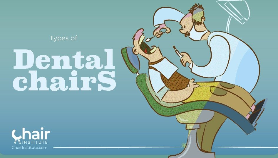 Illustration of a patient on a dental chair being examined by his dentist