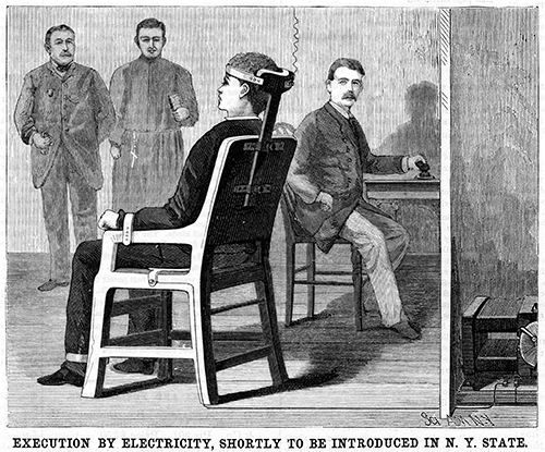 An illustration from the June 1888 issue of the magazine, Scientific American, announcing the introduction of electric chair as a new form of execution.