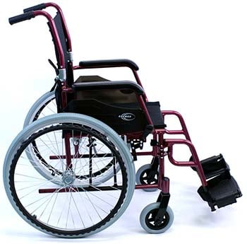 A side image of Karman LT-980 Ultra Lightweight Wheelchair in burgundy color