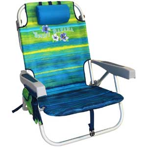 An Image Sample of Tommy Bahama Backpack Cooler Chair: Green/Blue Stripe