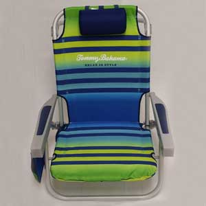 An Image Sample Of Tommy Bahama Backpack Cooler Chair: Green/Light Green  Seersucker