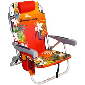 An Image Sample of Tommy Bahama Backpack Cooler Chair: Orange/Red Floral