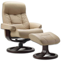 A Beige 215 Large Muldal Recliner with ottoman