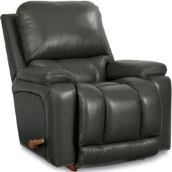 Black Greyson Leather Rocker and Recliner by La-Z-Boy facing right