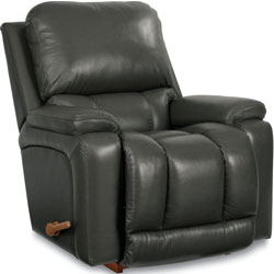 Black Greyson Leather Rocker and Recliner