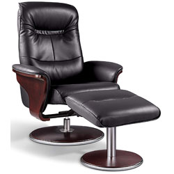 Black Artiva USA Milano Recliner with ottoman