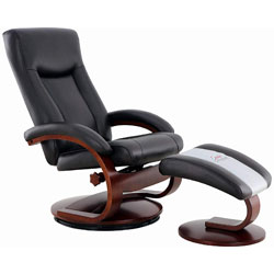 Black Oslo Collection Recliner with ottoman