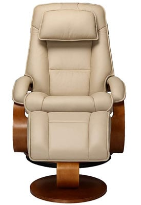 Front facing Oslo Collection Recliner in beige upholstery by Macmotion