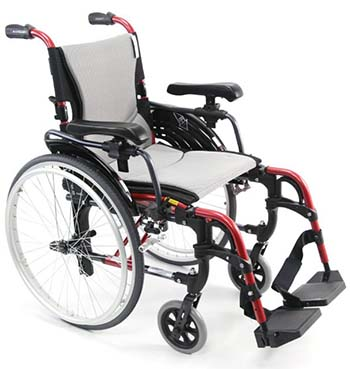 Karman S-305 Ergonomic Wheelchair with red frame facing right