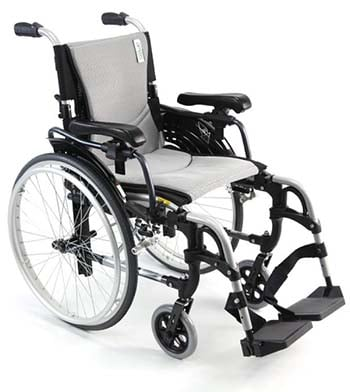 Karman S-305 Ergonomic Wheelchair with silver frame facing right