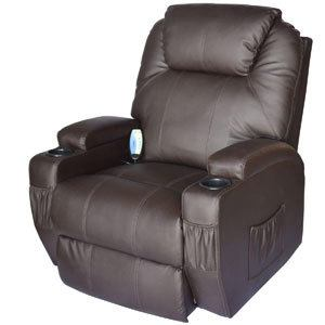 Brown HOMCOM Swivel Massage PU Leather Recliner Chair