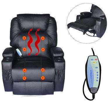 Heat Feature of the HOMCOM Swivel Massage PU Leather Recliner Chair