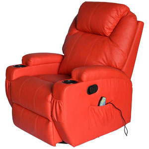 Red variant of the HOMCOM Swivel Massage PU Leather Recliner Chair