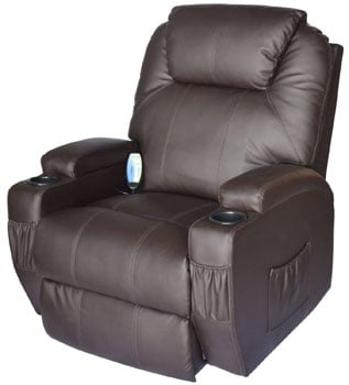 Right View Image of HOMCOM Swivel Massage PU Leather Recliner Chair