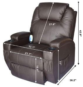 An Image Sample of Specification Dimensions of HOMCOM Swivel Massage PU Leather Recliner Chair