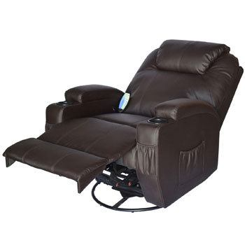 Reclined HOMCOM Swivel Massage PU Leather Recliner Chair