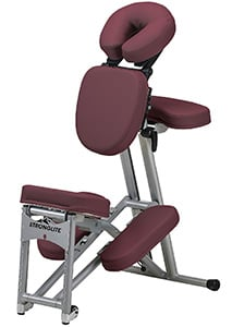 An image of the StrongLite Ergo Pro II Portable Massage Chair in burgundy upholstery