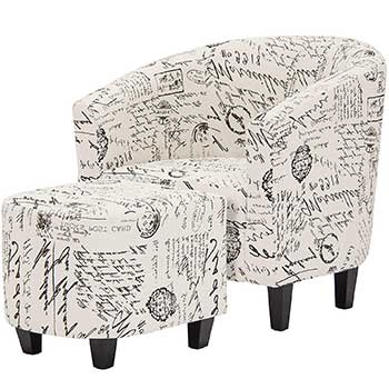 Best Choice Products Modern Barrel Accent Chair with Ottoman in white upholstery with black French scripts decor