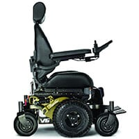 Army Green, Frontier V6 – All-Terrain Electric Wheelchair with MPS seating, in Left Side Position