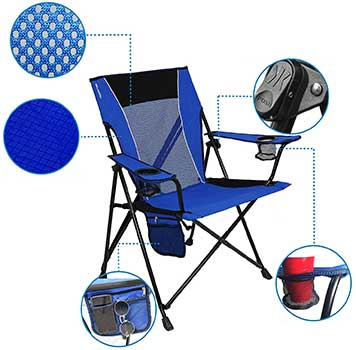 An illustration of the different parts and features of a beach Folding Chair