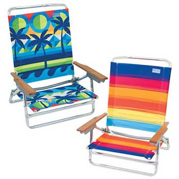 Two Rio Brands Sand Chairs with a beach view design (left) and blue red and orange stripes design (right)