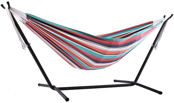Colorful Vivere Hammock Chair with Green, Orange, Purple, and White Stripes