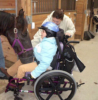 An Image of Outdoor Activities for Wheelchair Users: Horseback Riding
