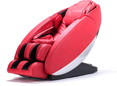 A red Novo XT massage chair, on a white background