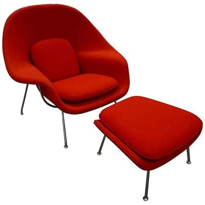 Eerio Saarinen Womb Chair with Ottoman Upholstered Journey, Banner