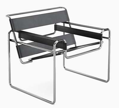 Marcel Breuer Wassily Chair in Grey Upholstery Constructed From Seamless Tubular Steel