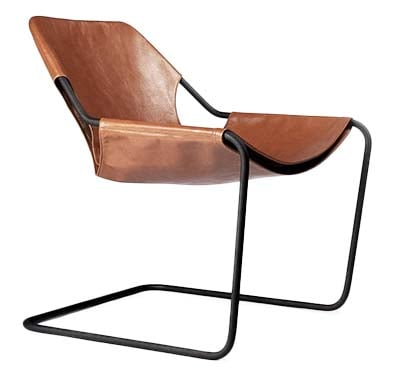 Paulistano Arm Chair in Natural Leather and Phosphate Steel Legs