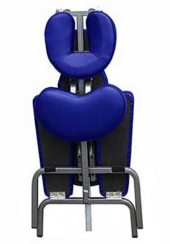 An image of a folded blue Ataraxia Deluxe Portable Folding Massage Chair