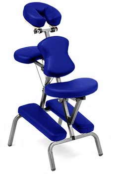 An image of the Ataraxia Deluxe Portable Folding Massage Chair with blue upholstery
