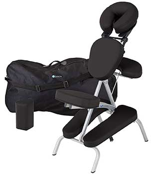 An image of the EARTHLITE Portable Massage Chair in black upholstery and its black carrying case