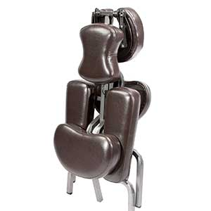 An image of a folded Brown Master Massage Bedford Chair