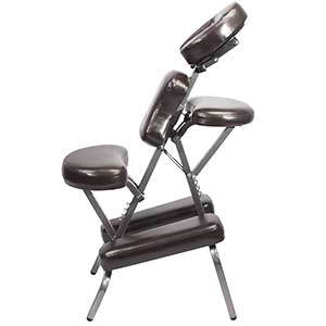 A side view image of an unfolded Brown Master Massage Bedford Chair
